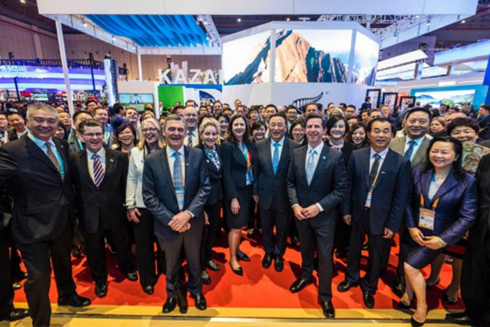 Federal Minister for Trade, Tourism and Investment Simon Birmingham after officially opening the Australian Pavilion on day two of the China International Import Expo in Shanghai. DFAT/Chris Crerar