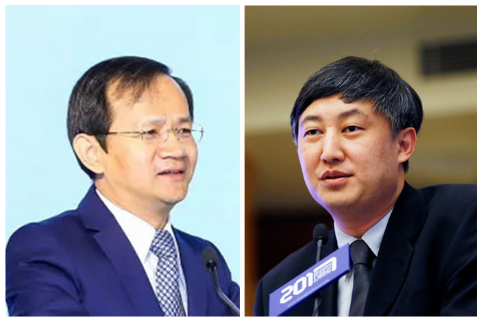 Yin Yong (left), a former vice governor of the People's Bank of China, and Sun Guofeng, head of the central bank's monetary policy department.