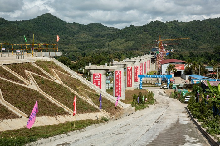 The Luang Prabang railway bridge, a section of the China-Laos Railway built by the state-owned China Railway Group Ltd., is under construction near Luang Prabang, Laos on Oct. 21. Photo: VCG