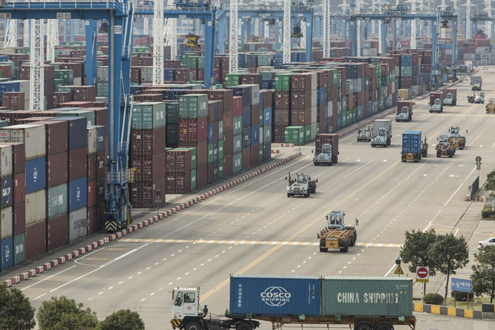 A view of Ningbo container port, Zhejiang province. Photo: Bloomberg