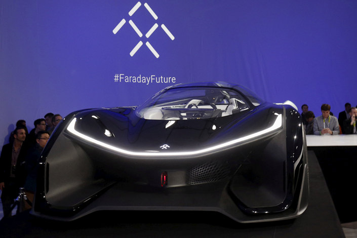 Faraday Future's FFZero1 electric concept car is seen after its unveiling at a news conference in Las Vegas, Nevada, in January 2016. Photo: VCG