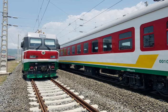 Locomotives for the Ethiopia-Djibouti electric railway line up outside a train station in the outskirts of Addis Ababa, Ethiopia, in September 2016. Photo: IC