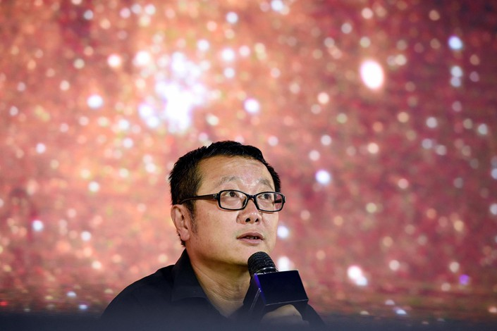 Renowned science fiction author Liu Cixin speaks at an event in Beijing. Photo: VCG