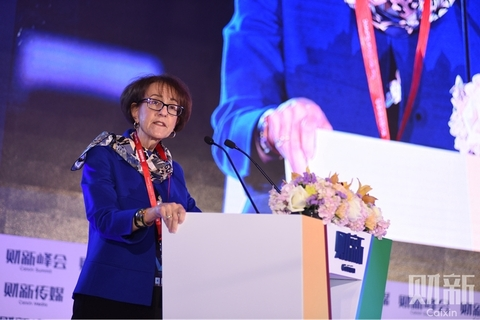 Charlene Barshefsky, United States trade representative from 1997 to 2001, speaks during the 9th Caixin Summit on Nov. 18. Photo: Chen Weixi, Ding Gang, Cai Yingli, Xu Yue/Caixin