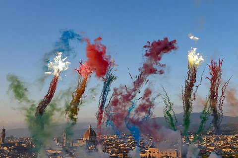 "Colorful fireworks from artist Cai Guoqiang's daytime fireworks show ""City of Flowers in the Sky"" are seen in Florence, Italy, on Sunday. Photo: IC"