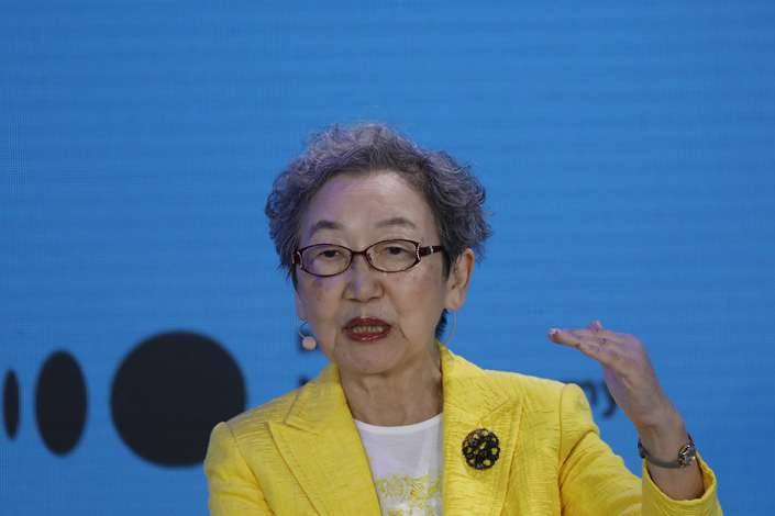 Former Japanese Foreign Minister Yoriko Kawaguchi speaks during a panel discussion at the Bloomberg New Economy Forum in Singapore on Nov. 6. Photo: VCG