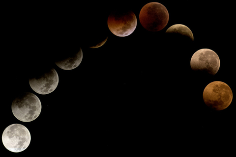 A lunar eclipse seen from South Tangerang, Banten, Indonesia, on July 28. Photo: IC