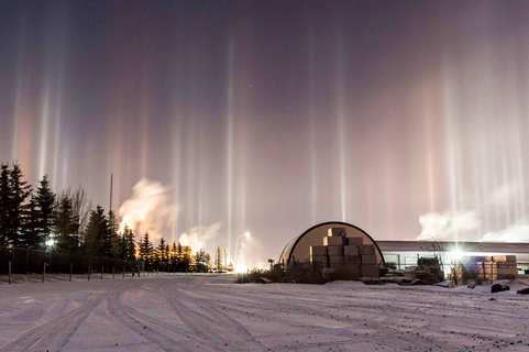 Light pillars emerge from the sky after sunset on Jan. 4 in Alberta, Canada. The effect is created when light reflects off millions of tiny ice crystals in the atmosphere. Photo: IC