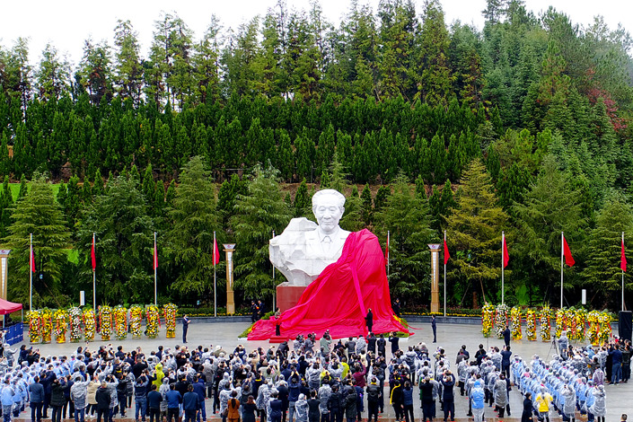 A statue of former Communist Party of China leader Hu Yaobang is unveiled in Liuyang, Hunan province, on Sunday. Photo: VCG