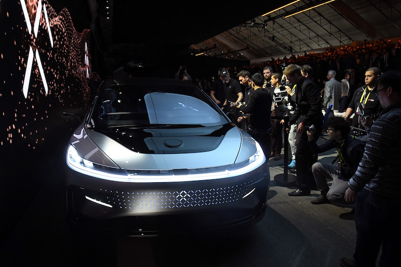 Faraday Future's FF91 prototype electric vehicle is shown during a press event for CES 2017 in Las Vegas. Photo: VCG