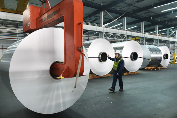 The proportion of money-losing enterprises in the aluminum industry is now close to 80%, the director of the China Nonferrous Metals Industry Association told Caixin earlier this month. Photo: VCG