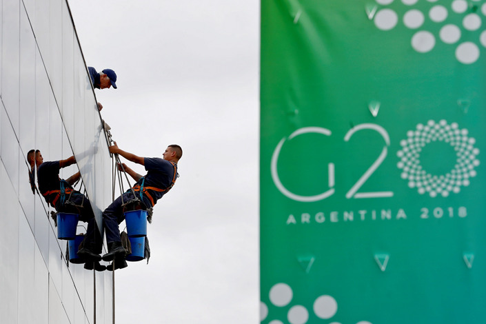 Employees prepare the G-20 Summit venue in Buenos Aires, Argentina, on Nov. 27. Photo: IC