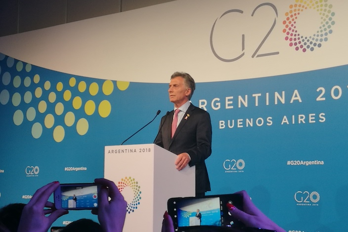 G20 members at the closing of the group's summit. Argentina became the first Latin American country to host the meeting. Photo: Han Wei/Caixin