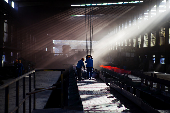 A strip steel production line in Linfen, Shanxi province, on Nov. 14 2017. Photo: VCG