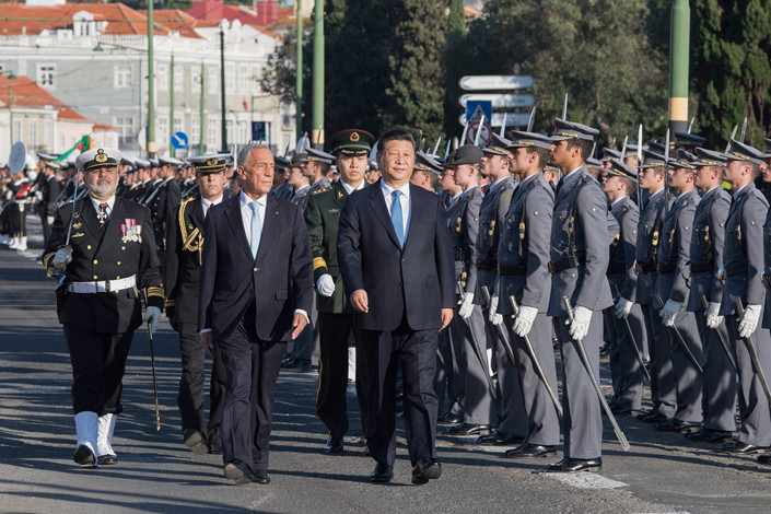 Portuguese President Marcelo Rebelo de Sousa held a grand welcome ceremony for President Xi Jinping. Photo: Xinhua