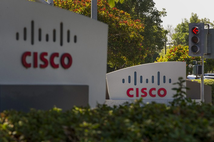 Cisco Systems Inc. signage stands at the company's headquarters in San Jose. Photo: Bloomberg