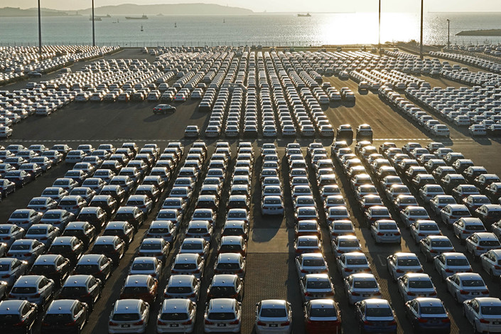 Domestic Chinese cars are delivered to the automobile terminal in the Port of Dalian, Liaoning province, on Oct. 18. Photo: VCG