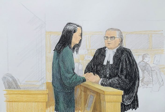 A courtroom sketch shows Huawei CFO Meng Wanzhou (left) speaking with her lawyer, David Martin, in the Supreme Court of British Columbia in Vancouver on Monday. Illustration: Jane Wolsak