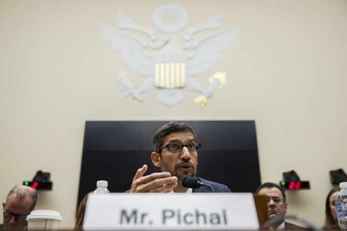 Google CEO Sundar Pichai testifies before the U.S. Congress. Photo: Bloomberg