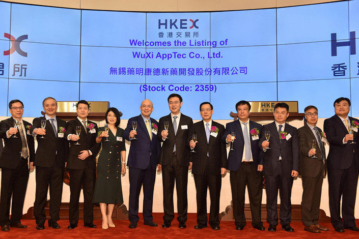 WuXi AppTec Co. Ltd. listed on Hong Kong's stock exchange on Dec. 13, 2018. Photo: VCG