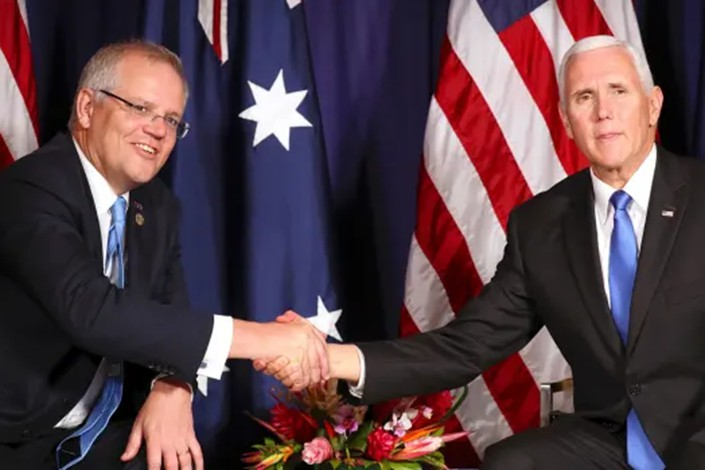 Scott Morrison and Mike Pence at the APEC summit last month. Photo: Mark Schiefelbein/AFR