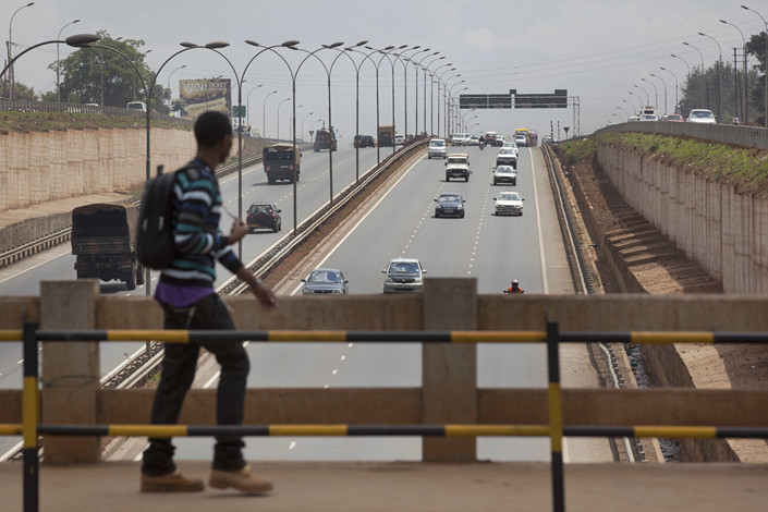 A bridge over a Chinese-built 50-kilometer, $300 million highway leading north out of Nairobi, Kenya, is seen in October 2012. Photo: IC