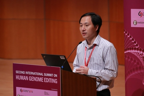 Chinese researcher He Jiankui speaks at the Human Genome Editing Conference in Hong Kong on Nov. 28. He copped almost universal scorn when he claimed to have helped produce the world's first human babies genetically edited with CRISPR, when he claimed to have removed a gene from a pair of twins before they were born in an effort to make them HIV-resistant. Photo: VCG