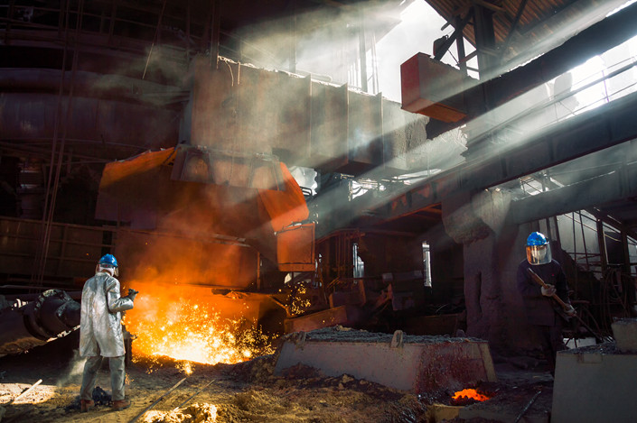 Workers make steel in Anhui province on Oct. 15. Photo: VCG