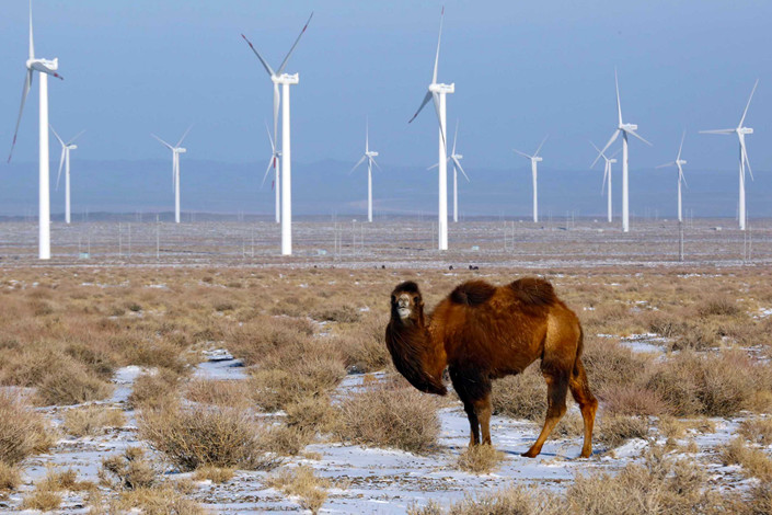 A wind farm in Hami, Xinjiang Uygur autonomous region in January 2015. Photo: IC