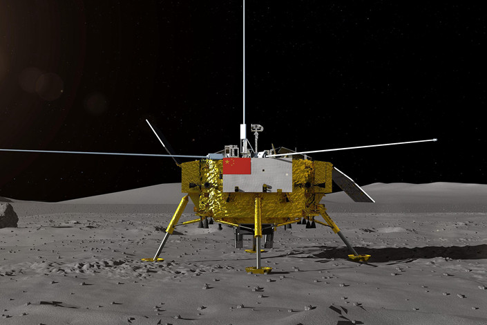 A model of the lunar probe Chang'e-4 is displayed during the 12th China International Aviation and Aerospace Exhibition in the southern city of Zhuhai on Nov. 7. Photo: VCG