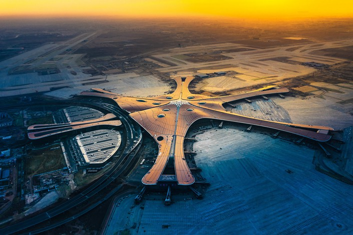 Beijing Daxing International Airport, currently under construction, is seen on Dec. 27. Photo: IC