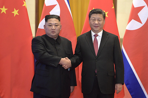 Kim Jong Un meets with President Xi Jinping at the Great Hall of the People in Beijing on Jan. 8. Photo: Xinhua