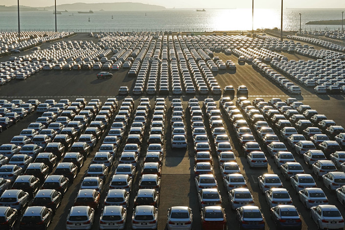 Made-in-China cars arrive at the Dalian motor terminal on Oct. 18. Photo: VCG