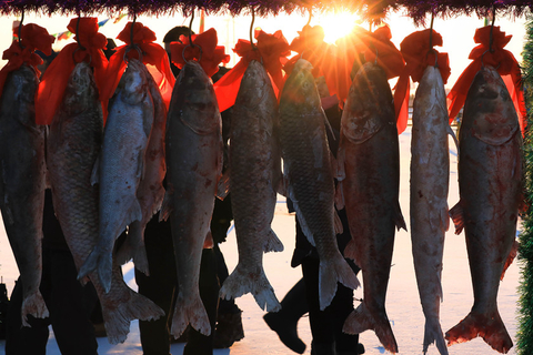 Fish caught from Chagan Lake during a fishing and hunting festival held in Songyuan, Jilin province, are hung to dry on Dec. 28, 2017. Photo: VCG