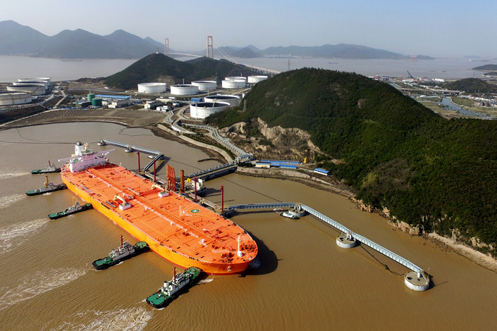 Imported crude oil is unloaded in Zhoushan, Zhejiang province, on Feb 11. Photo: VCG