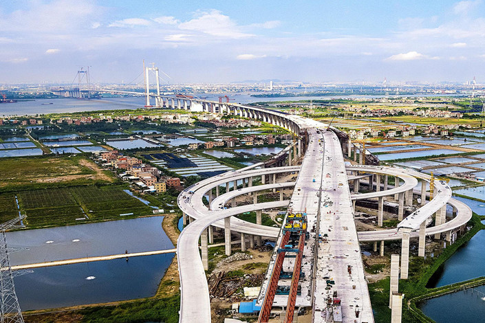 The Second Humen Bridge, which will help link the cities of Guangzhou and Dongguan in the Greater Bay Area of South China's Guangdong province, is seen under construction on Nov. 20. Photo: VCG