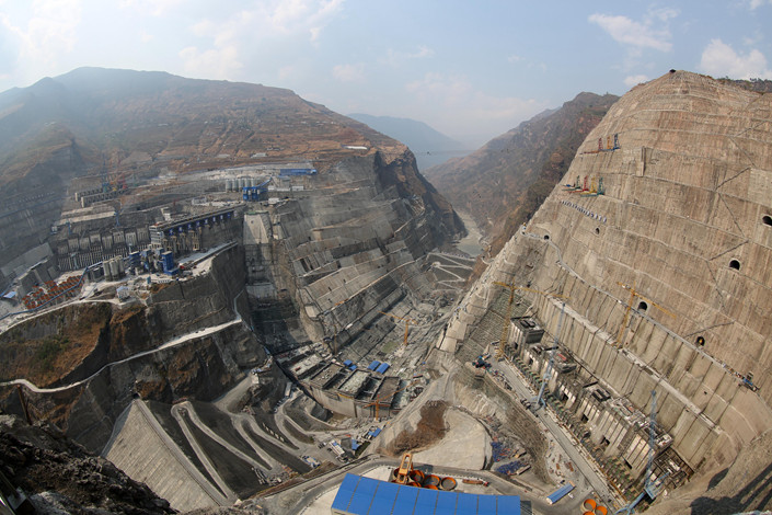 Construction proceeds on the Baihetan hydropower station in the lower reaches of the Jinsha River on March 10. Photo: IC