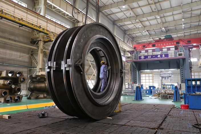 A factory floor of Harbin Electric Co. Ltd. is seen in Harbin, Heilongjiang province, on April 20. Photo: VCG