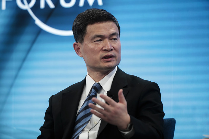 Fang Xinghai, vice chairman of the China Securities Regulatory Commission, speaks during a panel session on the opening day of the World Economic Forum in Davos, Switzerland, on Jan. 22. Photo: VCG