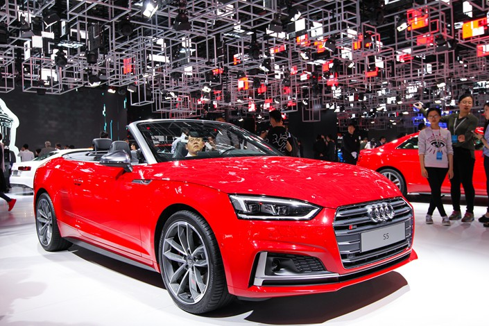 Audi cars are displayed at a Shanghai auto show on Dec. 2. Photo: VCG