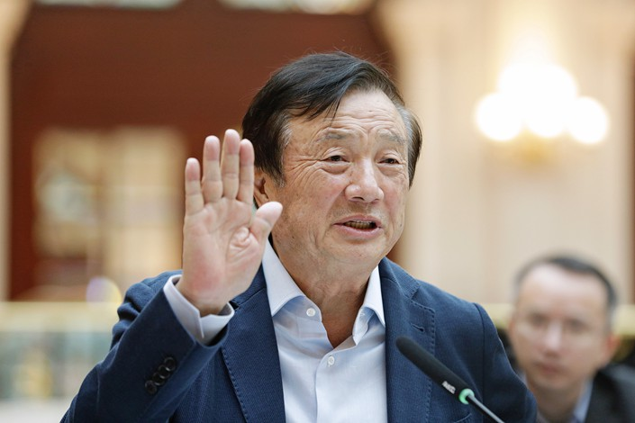 Ren Zhengfei, founderof Huawei Technologies Co. Ltd., speaks during an interview at the company's headquarters in Shenzhen, Guangdong province on Jan. 15. Photo: VCG