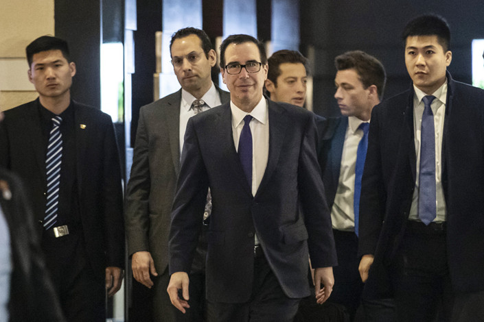 U.S. Trade Representative Robert Lighthizer and Treasury Secretary Steven Mnuchin in trade talks. Photo: Bloomberg
