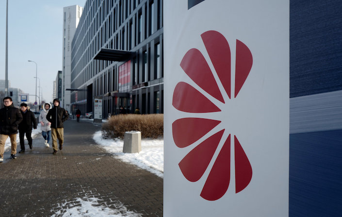 A Huawei logo is seen in front of a Huawei office in Warsaw, Poland Jan. 11, 2019. Photo: VCG
