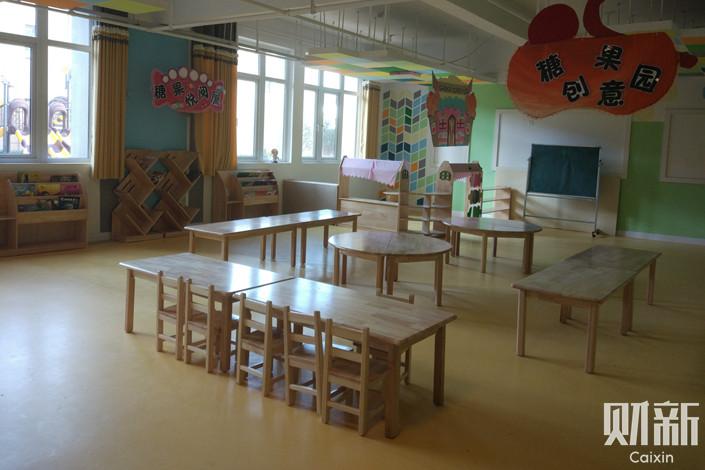 A classroom at Rongyao New Town Community's kindergarten in Xuzhou, Jiangsu province. Photo: Zhao Ning/Caixin