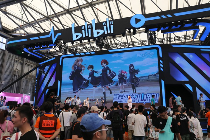 Visitors flock to the booth of popular video site Bilibili at an event in Shanghai in July 2017. Photo: IC