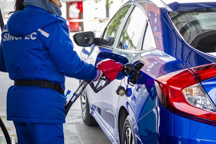 A Sinopec gas station in Shanghai on Feb. 1. Photo: VCG