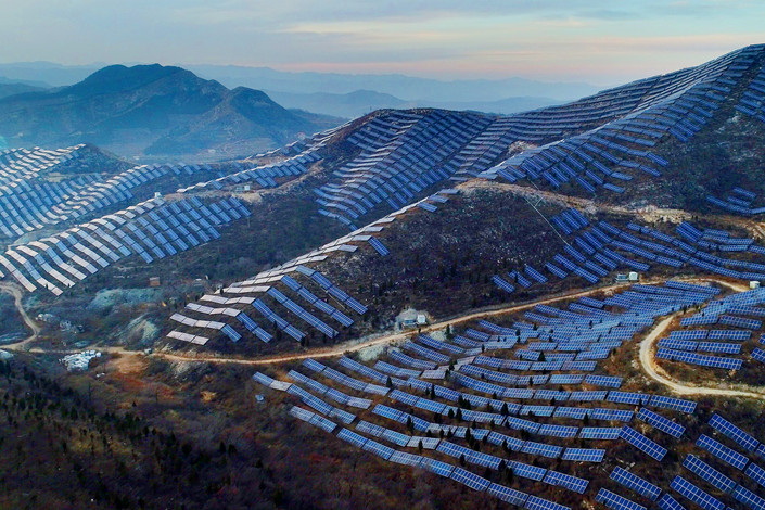 Solar panels cover part of the Taihang Mountains in North China's Hebei province on Nov. 24. Photo: VCG