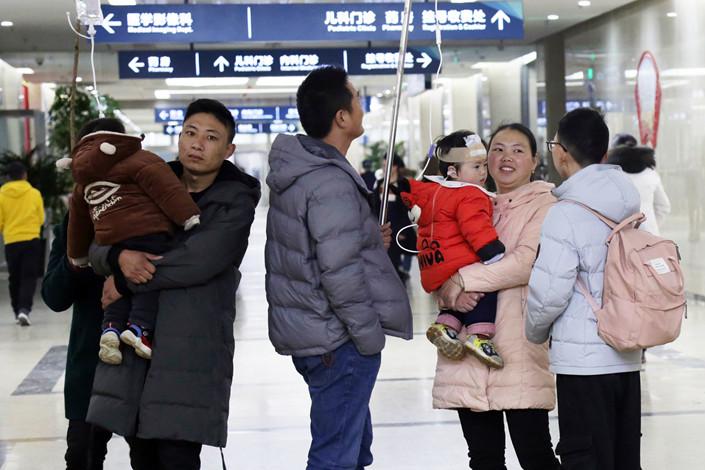 Chlidren sick with the flu in Jiangsu province, Jan. 29, 2019. Photo: VCG