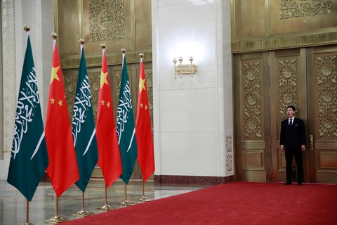 A Chinese security officer yawns as he stands guard outside a room where Saudi Crown Prince Mohammad bin Salman and Chinese President Xi Jinping are holding a meeting at the Great Hall of the People in Beijing on Feb. 22. Photo: VCG