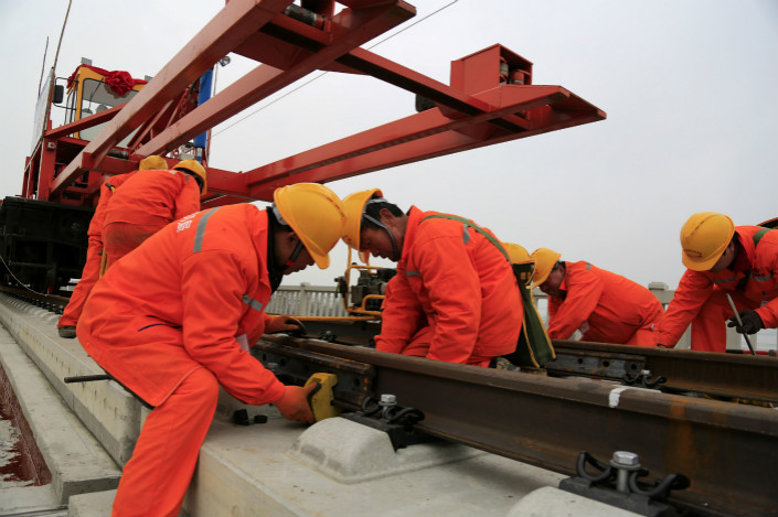 Construction takes place on a stretch of high-speed rail in Anhui province. Photo: VCG